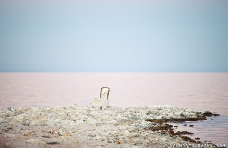 A strip of rocks edges close to the fetid water of the Salton Sea.