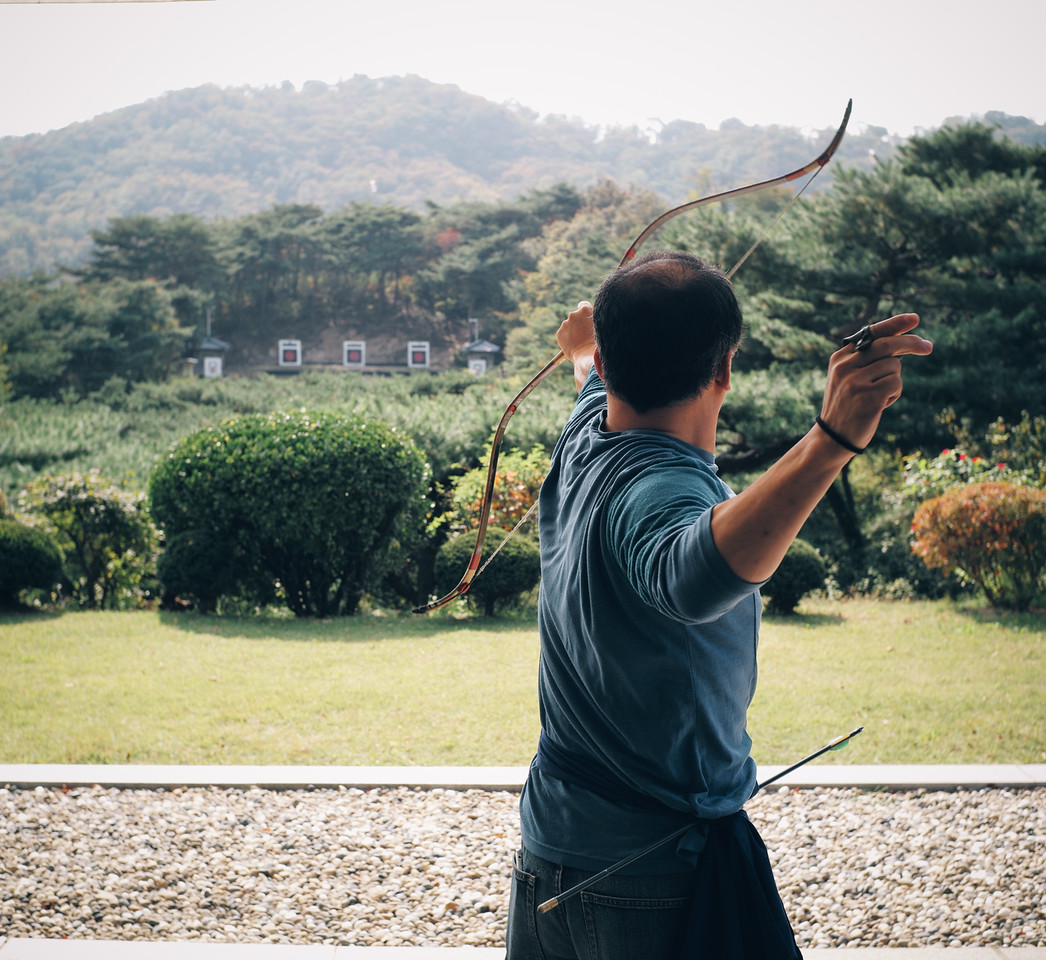 An archer sets an arrow free at the archery school at Namsan Park, Seoul, South Korea.